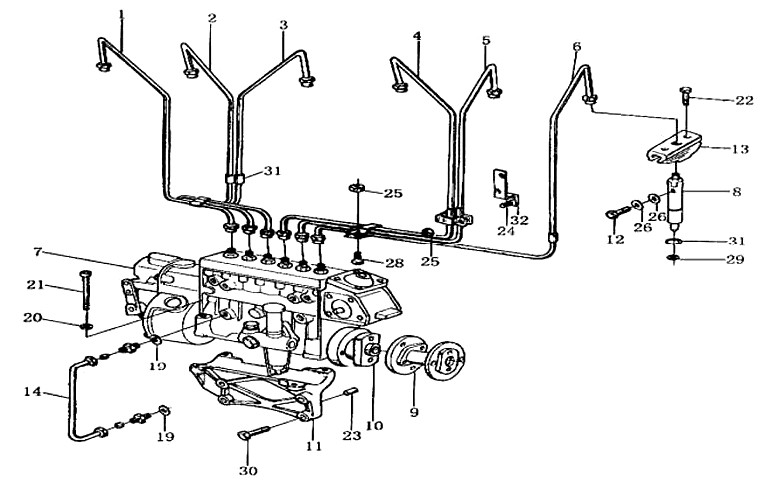 INJECTOR & FUEL PIPE, WD615, SINOTRUK HOWO SPARE PARTS CATALOG