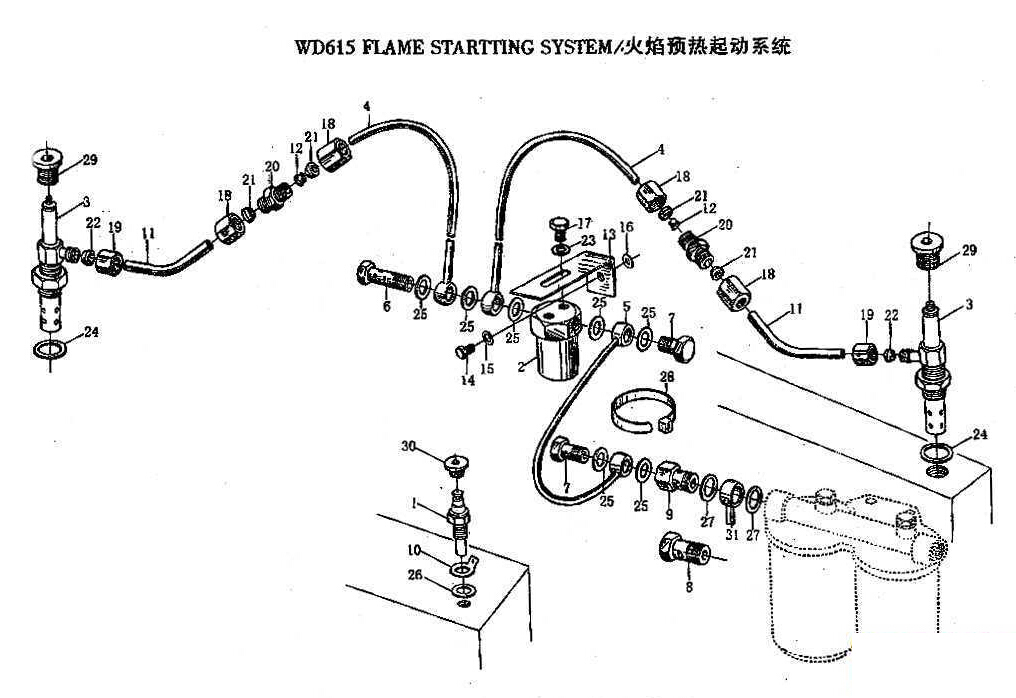 FLAME STARTING SYSTEM, WD615, SINOTRUK HOWO SPARE PARTS CATALOG